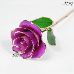 Wholesale Flowers Trimmings - Wholesale-Flowers & Leaves Lacquer Dipped Gold Plated Trim Genuine Fresh 24K Rose Gift Decor for Girlfriend Wife Fiancee Mom Lover