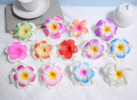 Wholesale Plumeria Clips - Wholesale-Free Shipping!! Double Layer Plumeria Foam Flower Hair Clips 26 pieces lot (13 colors mixed)