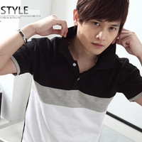 Wholesale Color Block Sleeves - Wholesale-Free Shipping ! Hot New Summer Fashion Men's 100% Cotton Black White Color Block Desinger Short Sleeve Casual Shirt Men