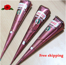 Wholesale Plant Tattoos - Wholesale-100% New Natural import henna sea na cone India ink na Hanna tattoo tattoo paste pure plant brown 12PCS Art brown henna cream