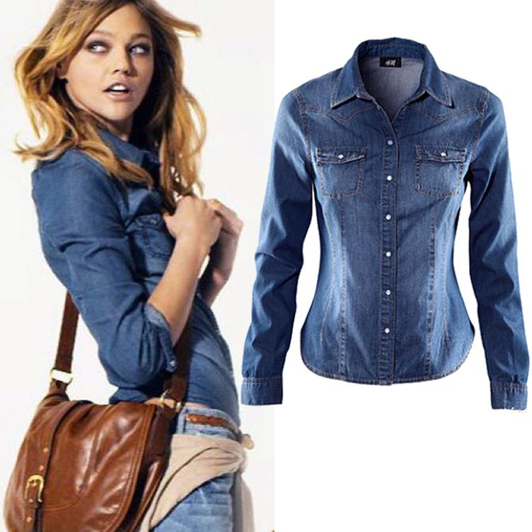 Wholesale New 2015 Women Blouse Suede Lapel Denim Jeans Shirt Long ...