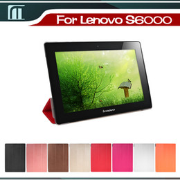 Wholesale Lenovo Ideatab 3g - Wholesale-Lenovo S6000 3G or Wifi Ideatab s6000 PU Case with Stand Smart Cover Skin Pouch 10.1 inch Tablet PC
