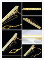 Wholesale Golden Clasp Tie - Wholesale-Mens Metal Golden Tone Simple Necktie Tie Bar Clasp Clip High Quality NEW