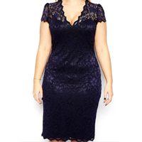Wholesale Womens Lace Sheath Dress - Wholesale-New Womens V-neck Lace Dress Party Dress Navy Blue Plus Size