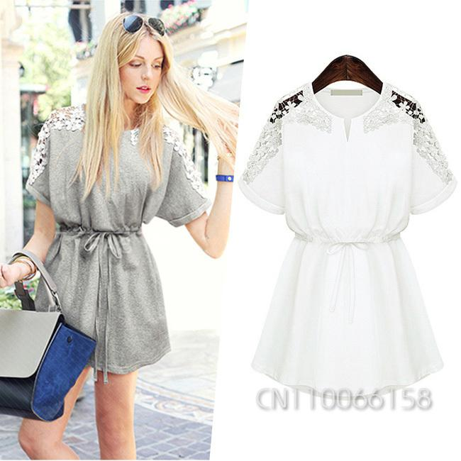 8439f7ebc5b Wholesale 2015 Summer New Womens Ladies Female Short Sleeve Applique Tunic  Casual Party Shift Mini Dress Frock Vestido White Gray SML 1501 Floral Maxi  Lace ...