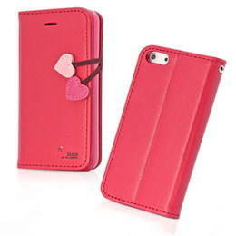 Wholesale Iphone5 Leather Holster - Wholesale- for iphone 5 New Cherry Series Wallet Leather Case For iPhone5 5S 5C Flip Cover Stand With Card Holder Holster