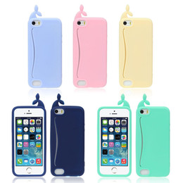 Wholesale Whale Soft Case Cover - Wholesale-New Cute Big Mouth Whale Rubber Card Holder Soft Case Cover For iPhone 5 5S