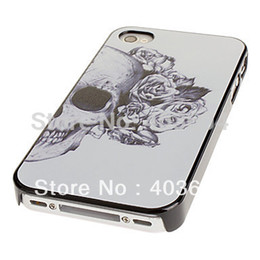 Wholesale Decorate Iphone - Wholesale-Skull with Rose Decorated Ear Pattern PC Hard Case with Black Cover Frame for iPhone 4 4S 5 S 5C Free Shipping