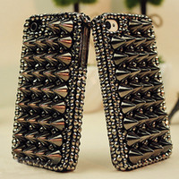 Wholesale Iphone 4s Stud Covers - Wholesale-Free shipping!3D hot sell fashion cool style for iphone 5s 5 4s 4 Punk Spikes Studs Rivet diamond Cover Skin case
