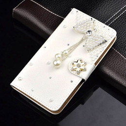 Wholesale Galaxy S3 Luxury Leather Case - Wholesale-S3 Luxury Wallet Stand Flip PU Leather Diamond Bowknot Mirror Case For Samsung Galaxy S 3 III I9300 Cell Phone Handmade Cover