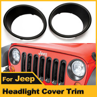 Wholesale Black Headlight Cover - Wholesale-A Pair NEW Red Ridge Black Headlight Cover Bezel Trim Rings For JEEP Wrangler JK 2007-2015