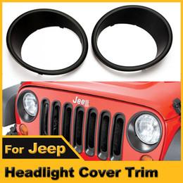 Wholesale Black Jeep Jk - Wholesale-A Pair NEW Red Ridge Black Headlight Cover Bezel Trim Rings For JEEP Wrangler JK 2007-2015