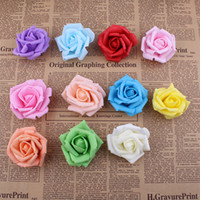 Wholesale Kiss Heads - Wholesale-Real touch Bigger EVA foam artificial flowers rose heads christmas party wedding home decoration flower DIY kissing ball