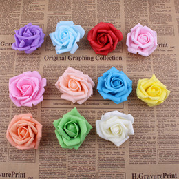 Wholesale Kissing Balls Flowers - Wholesale-Real touch Bigger EVA foam artificial flowers rose heads christmas party wedding home decoration flower DIY kissing ball
