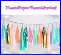 Wholesale Gold Tissue Paper Wholesale - Wholesale-14inch (35cm) Mylar Tissue Paper Tassel Garland Shiny Metallic Gold wedding decorations birthdays party 30 Assorted Colours
