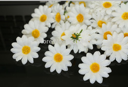 Wholesale Gerbera Daisies Silk Flowers - Wholesale-HOT Free shipping 100pcc\Lot WHITE Gerbera Daisy Heads Artificial Silk Flower Wedding party home Decoration DIY