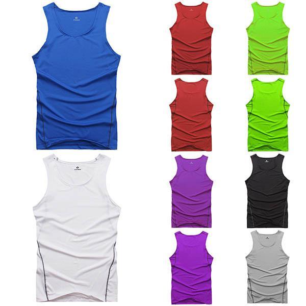 Gros-7 couleurs Choisissez Hommes Gilet Courir Remise en forme Sports Athlétiques Collants Gilet réservoir pour la livraison gratuite