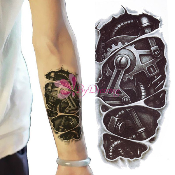 Wholesale-New 3D Waterproof Robot Arm Temporary Tattoo Stickers Body Art Removable Tatoo#61685