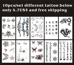 Wholesale Tattoo Sticker Body Dragon - Wholesale-10pcs lot,Temporary Tatoo Sticker Flower,Rose,butterfly,moon,dragon,Tibetan,english letter waterproof,fake tattooing body art CE
