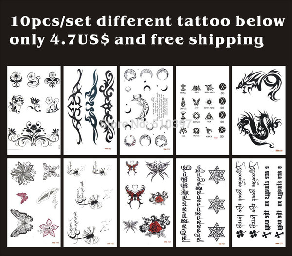 Wholesale-10pcs/lot,Temporary Tatoo Sticker/Flower,Rose,butterfly,moon,dragon,Tibetan,english letter/waterproof,fake tattooing body art/CE