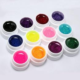 Wholesale Uv False Nail Kit - Wholesale-Amazing 12Colors Glitter Acrylic UV Gel Builder False Nails Tips Natural Nails Nail Art Polish Kit Set Women Lady Cosmetic