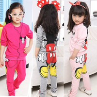 Wholesale Girl Jackets Cartoons - Wholesale-free shipping Sale Fashion Lovely Cartoon Minnie children clothing long sleeve T-shirt +pants kids suit kids clothing