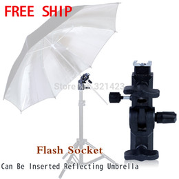 Wholesale new photographic equipment Alumnium Black Flash Shoe Umbrella Holder Swivel Light Stand Bracket A type