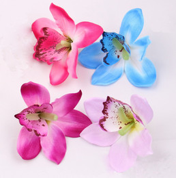Wholesale Orchid Heads - Wholesale-wholesale 12cm silk orchid flower heads Artificial Flowers for wedding holiday supplies accessories DIY flowers 50pcs lot