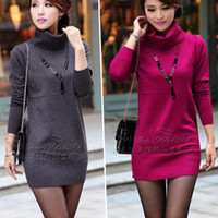 Wholesale Korean Cashmere Sweater Dress - Wholesale-Female Fall Winter Turtleneck Cashmere Sweater Dress Korean Pull Women Long Sleeve Women's Pullover Sweaters Casual Jumper