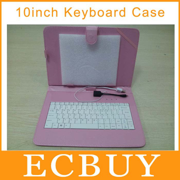 "Wholesale-10"" Tablet Leather Case with USB Keyboard Stand Function PU Leather Cover for all 10 inch Tablet Pcs"