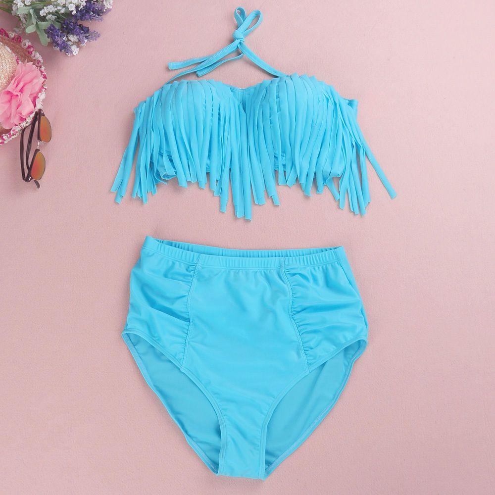 66a834cadecaf 2019 Wholesale PLUS SIZE Women Fringe Top High Waist Bikini Swimwear  Swimsuit XL 4XL From Apparelone, $17.96 | DHgate.Com