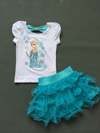 Wholesale Short Blue Skirt Cartoon - Wholesale-New 2015 lovely Elsa dress summer Casual clothing set 2 pieces T-shirts+short skirts with cartoon clothing baby girls dress