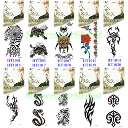 Wholesale temporary tattoo patterns - Wholesale-10x Temporary Tattoos 12x6cm Stickers Body Skin Art Lady Beauty Makeup Rose Totem Lion Snake Tiger Pattern Waterproof #HT-01