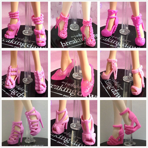 Wholesale-30Pairs/lot Most Beautiful Varities Of Styles Colors Top Quality Sandals Boots For  Original Fashion Doll Shoes Girl Gift