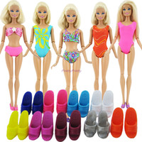 Wholesale Beach Doll - Wholesale-Lot 10 Item = 5 Beach Bathing Clothes Swimsuit + 5 Slippers Outfits For Barbie Doll Dress Swimwears