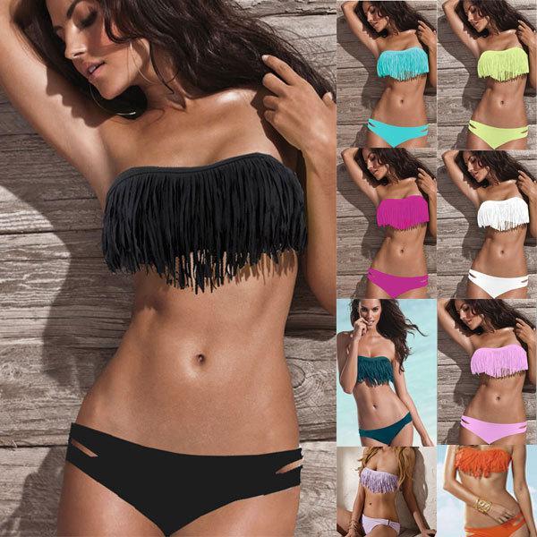 6fdeda48209e7 2019 Wholesale S 5XL Plus Size 5S4167 Sexy Tassel Swimwear Sexy Swimwear  Beach Swimsuit Hot Fringe Strapless Swimwear From Apparelone, $19.02 |  DHgate.Com