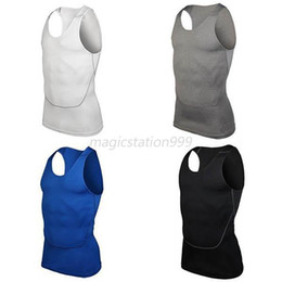 Wholesale Men S Compression Tank - Wholesale-Mens Tight Breathable Sport Vest Compression Fitness Athletic Tank Top S-2XL Free Shipping Men vest in summer