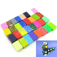 Wholesale Wholesale Fimo Blocks - 32 blocks DIY Craft For FIMO Soft Polymer Modelling Clay Plasticine Block Educational Toy 32 colors Free Shipping