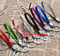 Wholesale Mixed Colour Charms - Wholesale-50PCS Mixed Colour Shine PU leather Keychain With 30MM Dia. Key Ring&8mm WidthFit 8mmX22mm Length Slide Charms
