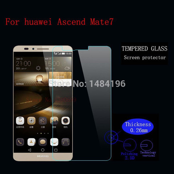 Wholesale- Tempered Glass Screen for Huawei Ascend Mate7 MT7-TL00 Tempered Glass 9H Screen Protector for Huawei Ascend Mate 7