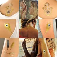 Wholesale Sexy Temporary Tattoo Sheet - Wholesale-12 Sheet New body art metallic temporary tattoo sexy product jewelry bracelet flash tattoo gold tatoo henna tattoos tatuagem