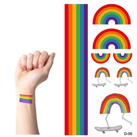 wholesale temporary rainbow stripes tattoo stickers