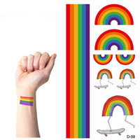 Wholesale Temporary Tattoo Sets - Wholesale-10 sets lot Temporary rainbow stripes Tattoo stickers waterproof tattoo body paint art gay pride party