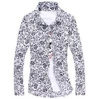 blusa de manga longa chinesa venda por atacado-Atacado-Plus Size Flor Imprimir Camisas de Marca Blusas Floral Camisas de Manga Longa Moda Casual Blusa de Estilo Chinês de Luxo Ropa Hombre