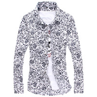 блузка с длинным рукавом оптовых-Wholesale-Plus Size Flower Print Shirts  Blusas Floral Shirts Long Sleeve Fashion Casual Blouse Chinese Style  Ropa Hombre
