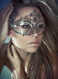 Wholesale Half Masquerade Masks - Wholesale-Silver Elegant Metal Laser Cut Venetian Halloween Ball Masquerade Mask