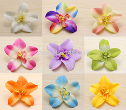 Wholesale Orchid Heads - Wholesale-30pcs Lot NEW Artificial simulation orchid decorative flower Cattleya Thai Orchid Silk flowers heads DIY wedding party