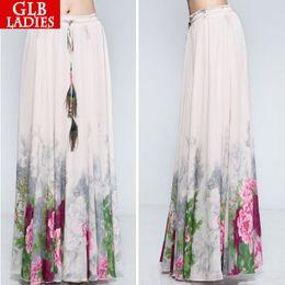 Wholesale Maxi Long Vintage Skirts - Wholesale-2015 Summer Women Long Skirts Maxi Pink Female Chiffon Print Saias Femininas Longa Vintage Elegant Casual Fashion Floral Skirts