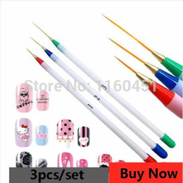 Wholesale Nail Gel Pen - Wholesale-3pcs set Nail Art Acrylic Tips Liner Drawing Brush Ongle Painting Striping Pen Nail Tools Professional Nail Supplies