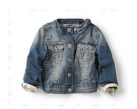 Wholesale Za Baby - Wholesale-New 2015 Spring Brand Za Baby Girls Jacket Denim With Bow Collar Kids Jackets & Coats Children's Clothing